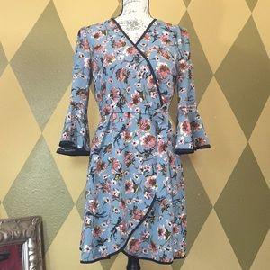 June & Hudson Belted Mock Wrap Dress size Large